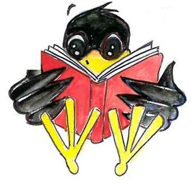 reading book raven